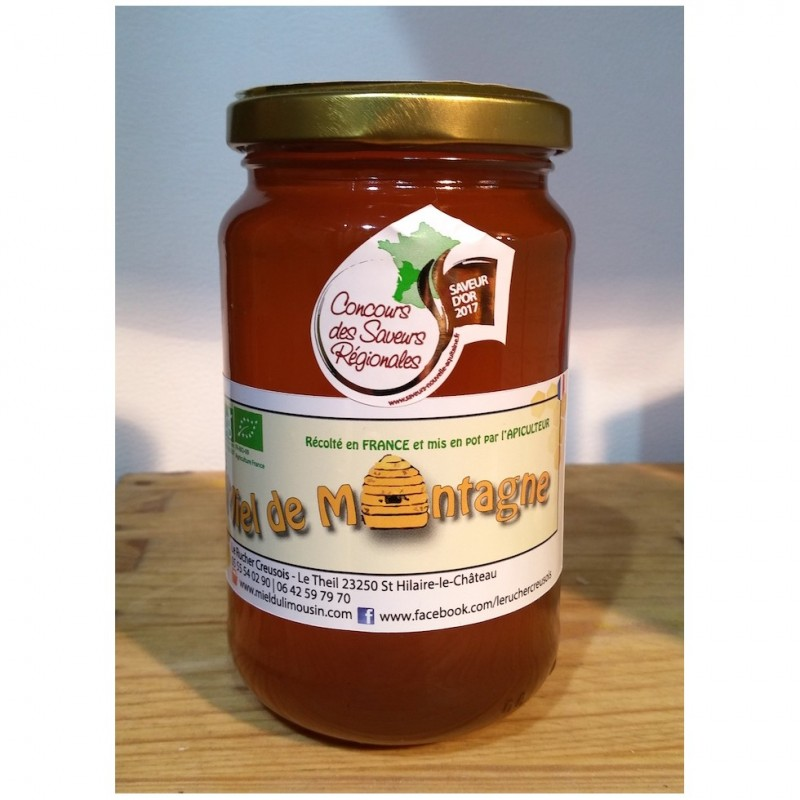 Miel de montagne Bio récolté en France.